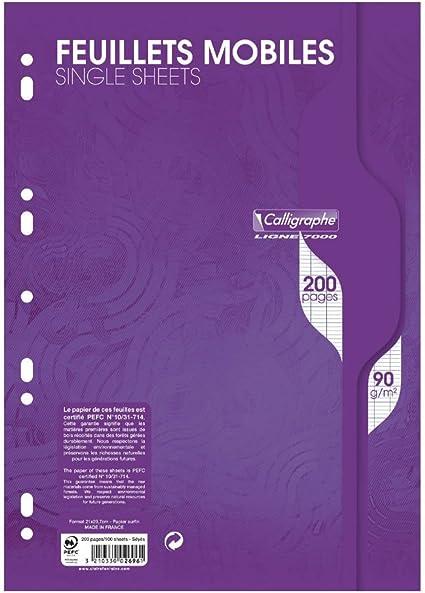 Papeles – pack de 200 folios perforados 21 x 29,7 cm, cuadrícula ...