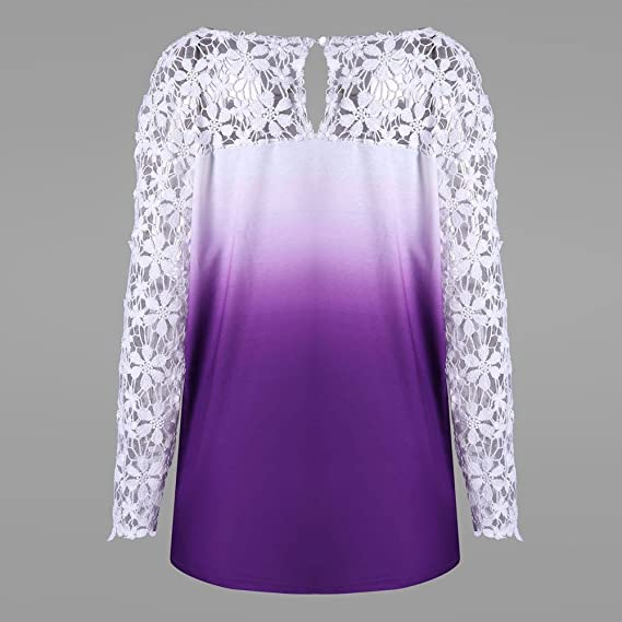 Camisa de Manga Larga para Mujer Moda Blouses del Impresión de Encaje Floral Blusa Casual Tops Estampados Camiseta Camisa Pulóver: Amazon.es: Ropa y ...