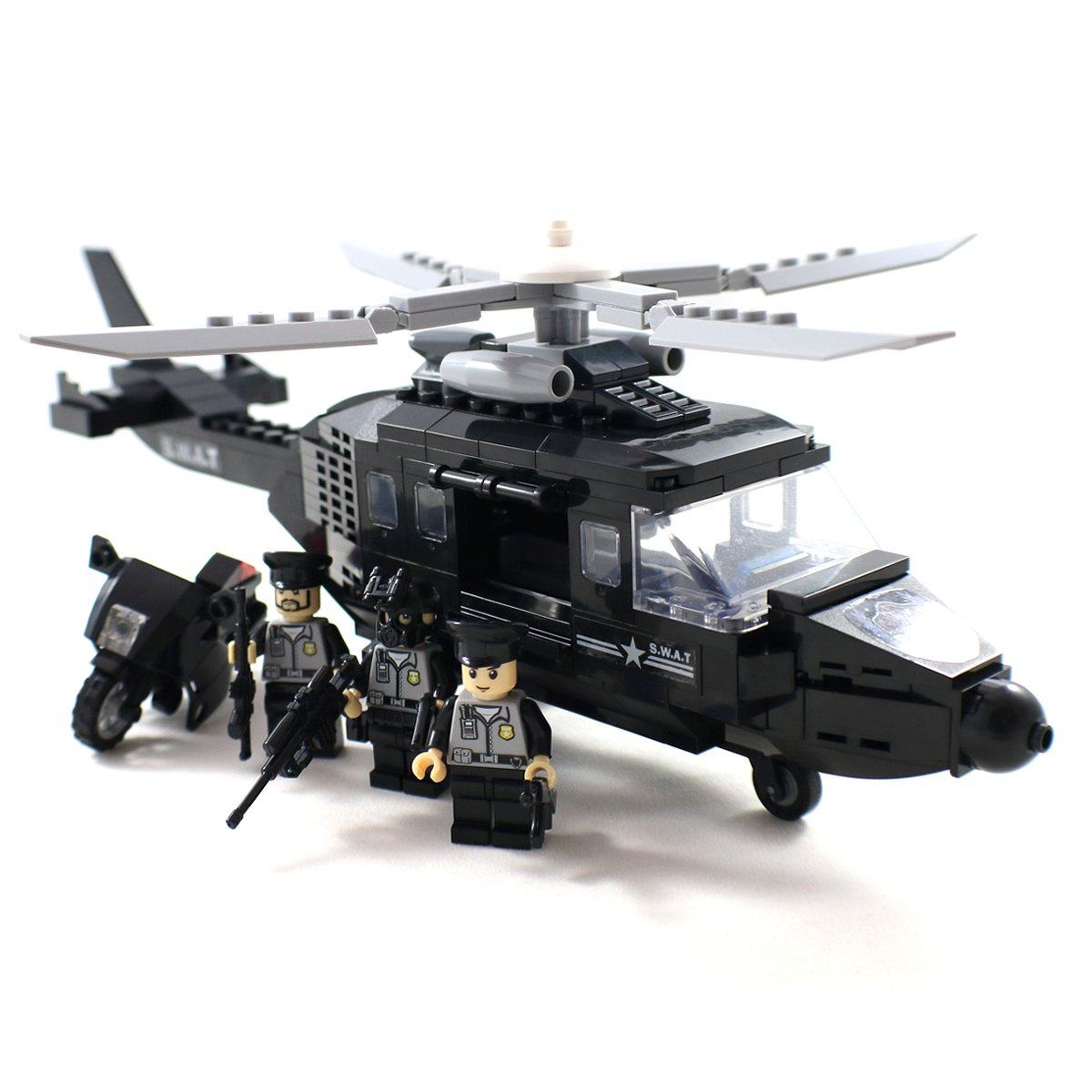 amazon com police swat helicopter with motorcycle and guns