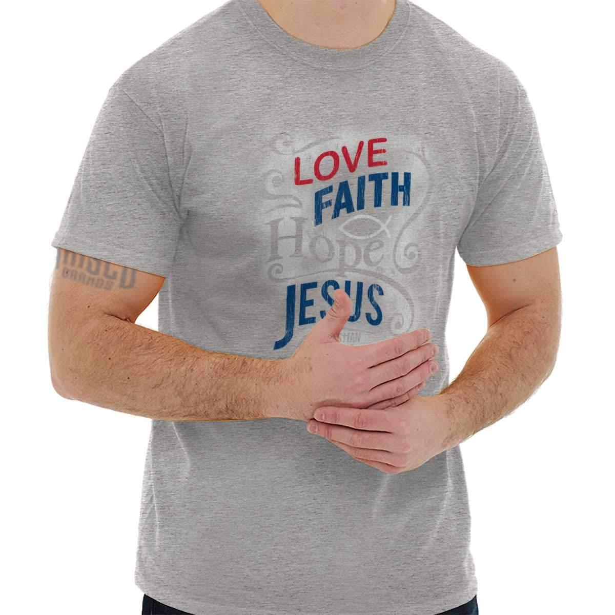 Christian T-Shirt - Love Faith Hope 18A106-Sport Grey, Large, Sport Grey,Sport Grey,Large