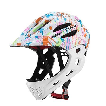 John-L Casco Bicicleta Niños, Casco De Ciclismo De Advertencia, Casco Ajustable Ligero Y Transpirable para Niños, Casco Bicicleta 17.7-21.25 Pulgadas,White: Amazon.es: Hogar
