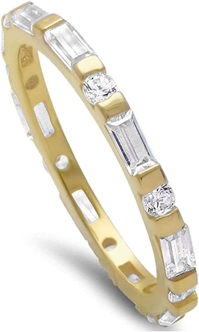Blue Apple Co. 2mm Full Eternity Wedding Band Ring Baguette and Round CZ Yellow Tone Plated 925 Sterling Silver