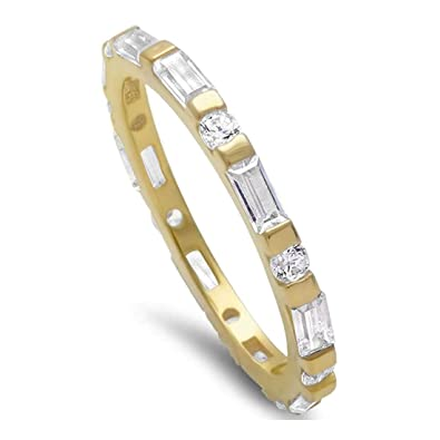Amazon.com: 2mm Full Eternity Wedding Band Ring Baguette and Round ...