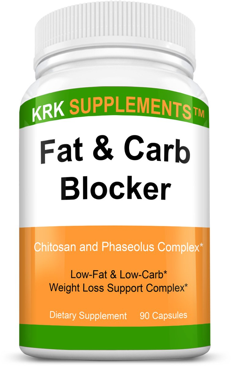 1 Bottle Fat and Carb Blocker with Phaseolus Vulgaris (White Kidney Bean Extract) Chitosan Extreme Diet Pills Weight Loss 90 Capsules KRK Supplements by KRK SUPPLEMENTS