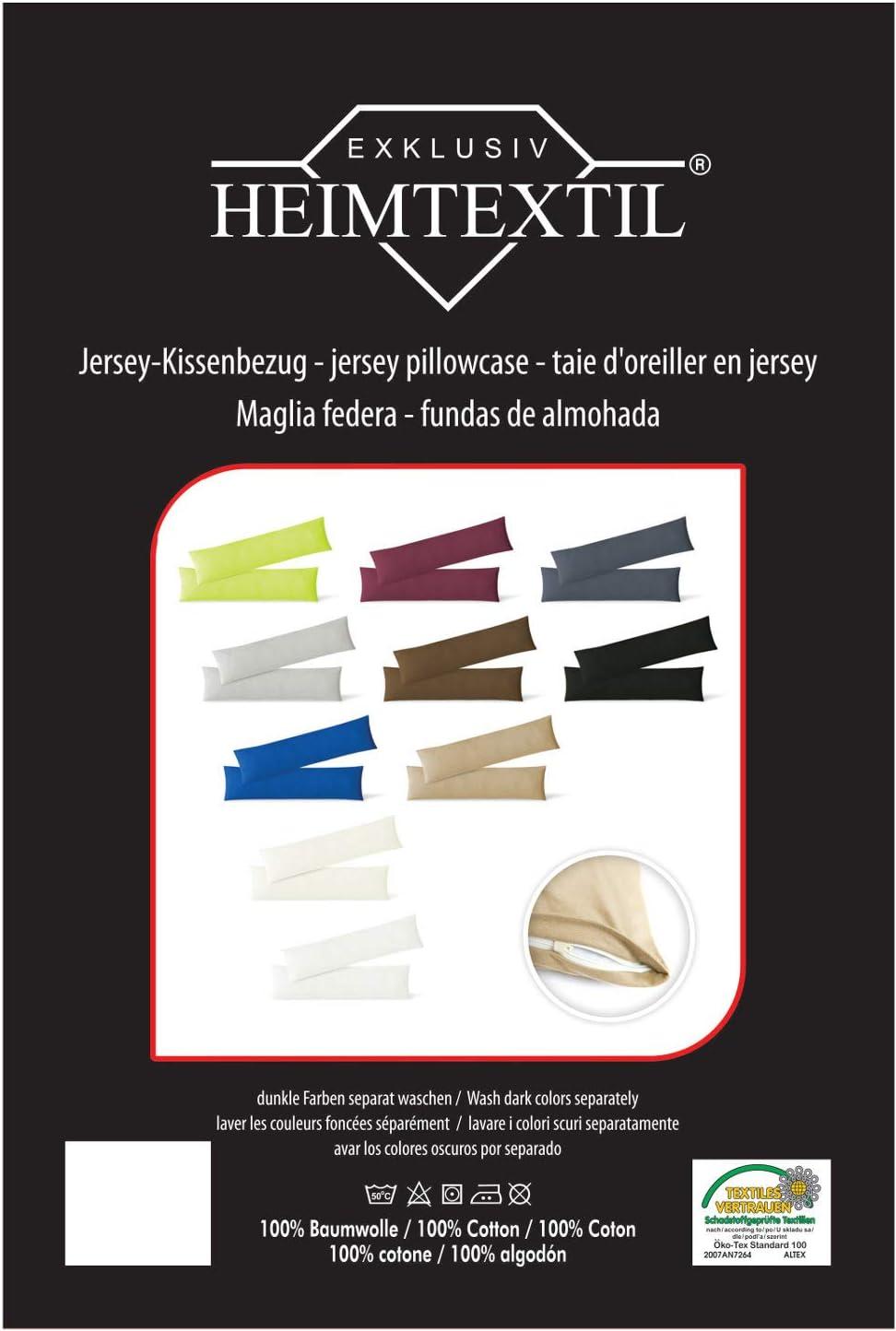 EXKLUSIV HEIMTEXTIL Housse de taies doreiller en Jersey 2 Pack /économique avec Fermeture /éclair de Haute qualit/é 40 x 145 cm Naturel