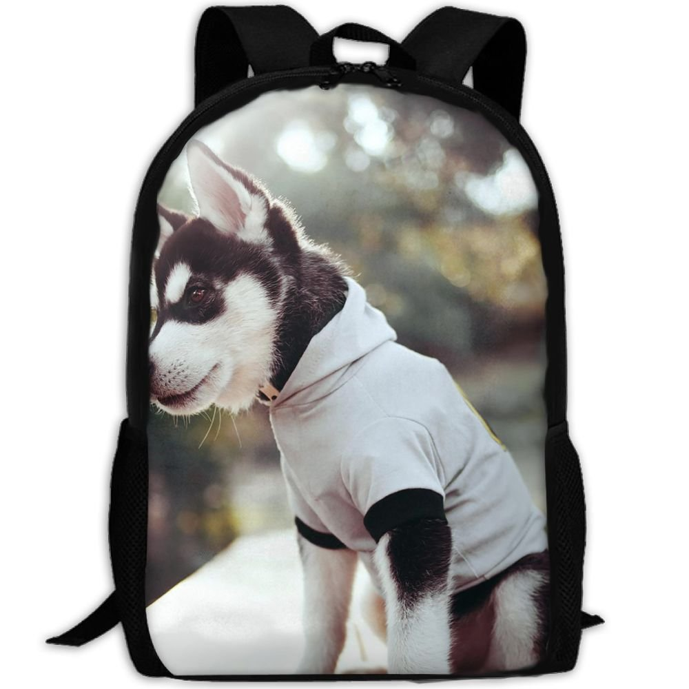 Durable Modeling Puppy Husky Backpack Briefcase Laptop Travel Hiking