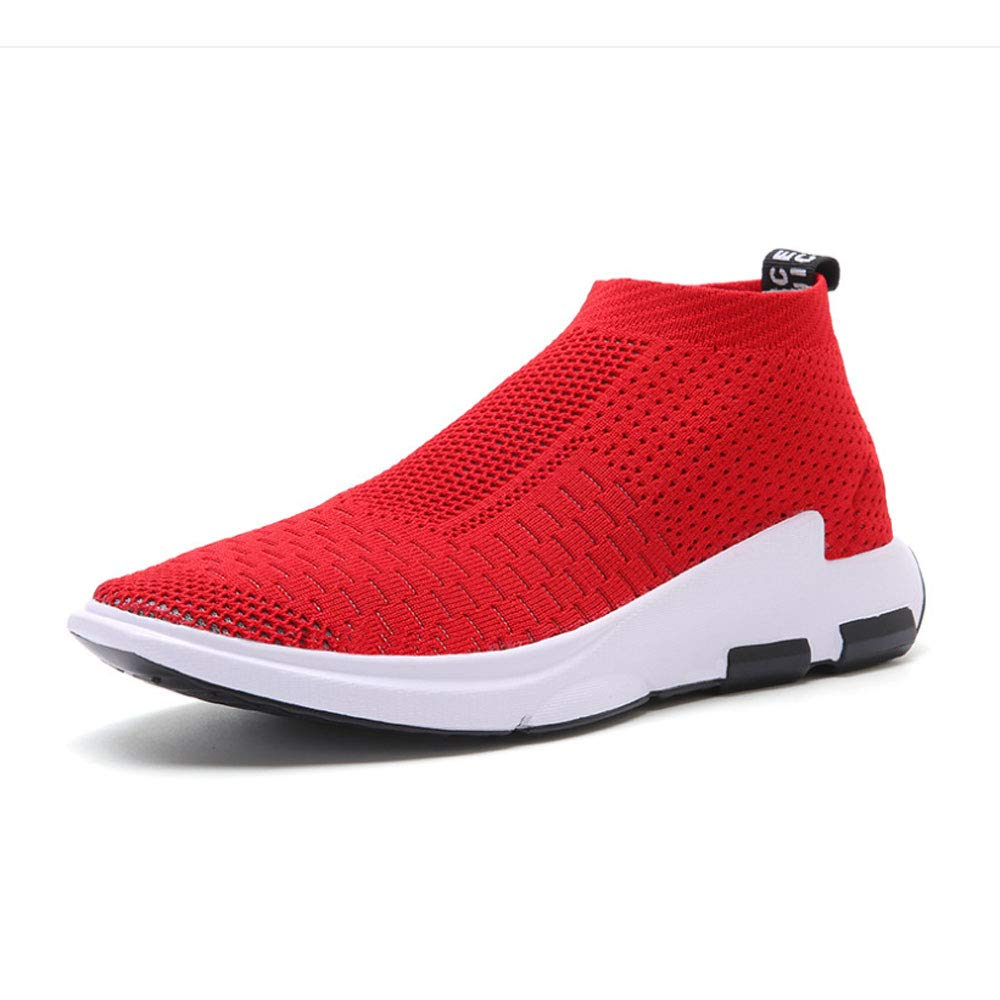 ASDFGH Herren Laufschuhe, Rutschfeste, verschleißfeste Sportschuhe fliegen gewebt Schuhe Männer und Frauen atmungsaktives Mesh,rot,45
