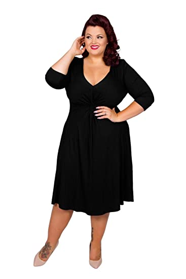 Lauren Black Jersey Knot Front Dress Balck Size 10-32  by Scarlett /& Jo