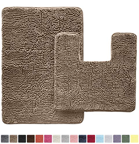 GORILLA GRIP Original Shaggy Chenille 2 Piece Bath Rug Set, Includes Square U-Shape Contoured Toilet Mat & 30x20 Carpet Rug, Machine Wash/Dry Mats, Soft, Plush Rugs for Tub Shower & Bath Room, Beige from Gorilla Grip