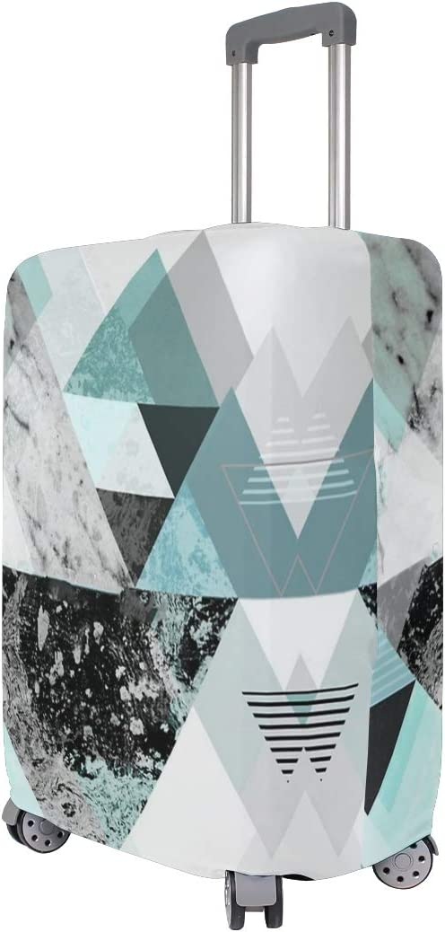 Turquoise Triangle Marble Travel Suitcase Protector Zipper Suitcase Cover Elastic