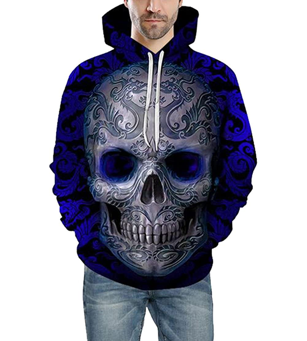 Lyamazing Unisex Realistic 3D Print Pullover Sweatshirt Hoodies with Big Pockets