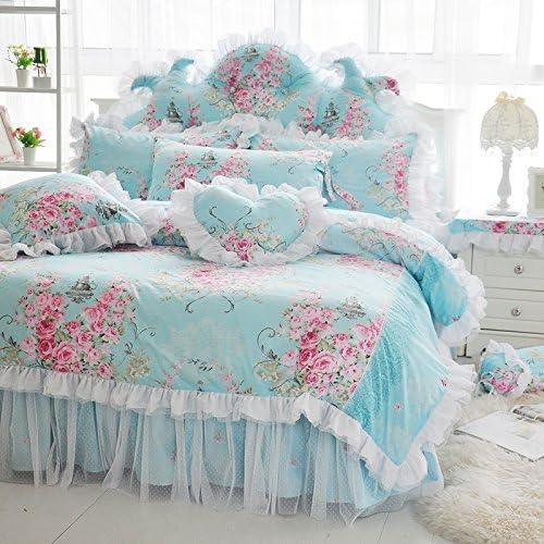 LELVAロマンチックローズフラワー印刷寝具のガールズ花柄ベッドスカートSet 4Pieceプリンセスレースフリル布団カバーセットクイーンピンク ツイン ブルー MMA-7