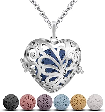 24 Rolo Chain Girls Women Jewelry Gift Set CELESTIA Essential Oil Lava Stone Diffuser Necklace Heart Aromatherapy Locket Pendant with 7 Reusable Coloured Lava Stones