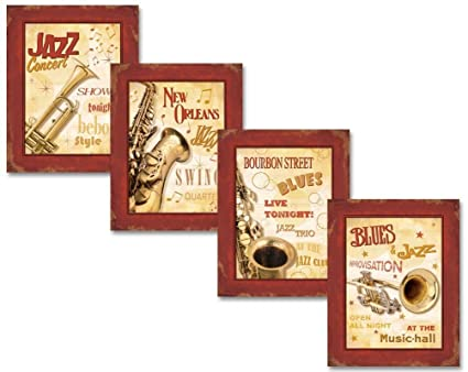 vintage new orleans jazz and blues show signs four 8x10in poster prints red