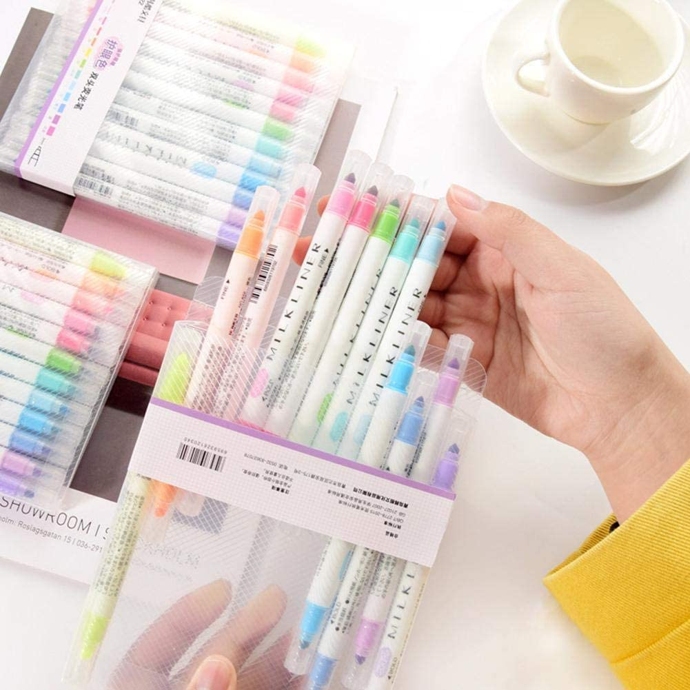 SharpointHome 12 Pieces//Set Double-Head Marker Pens Liner Headed Fluorescent Pen Art Highlighter Drawing Pens