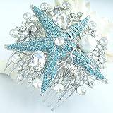 Sindary Silver Tone Wedding Headpiece Blue Clear