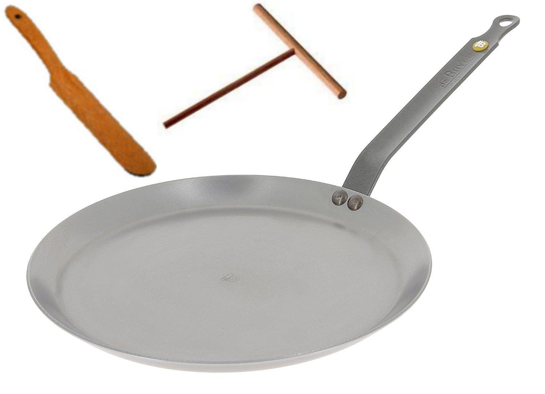 De Buyer 5615.30 Mineral B Element Crepe Pan 11.8-Inch/30 cm (FREE BONUS: Spreader + Turner)
