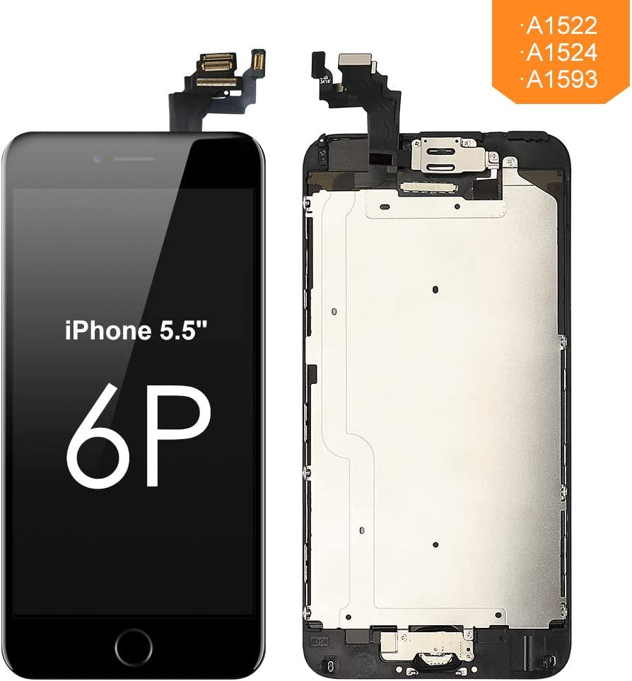 FLYLINKTECH Screen Replacement for iPhone 6 Plus Black LCD Display Digitizer Touch Screen Screen Assembly with Home Button+Front Facing Camera Proximity Sensor+Ear Speaker+Full Repair Tool
