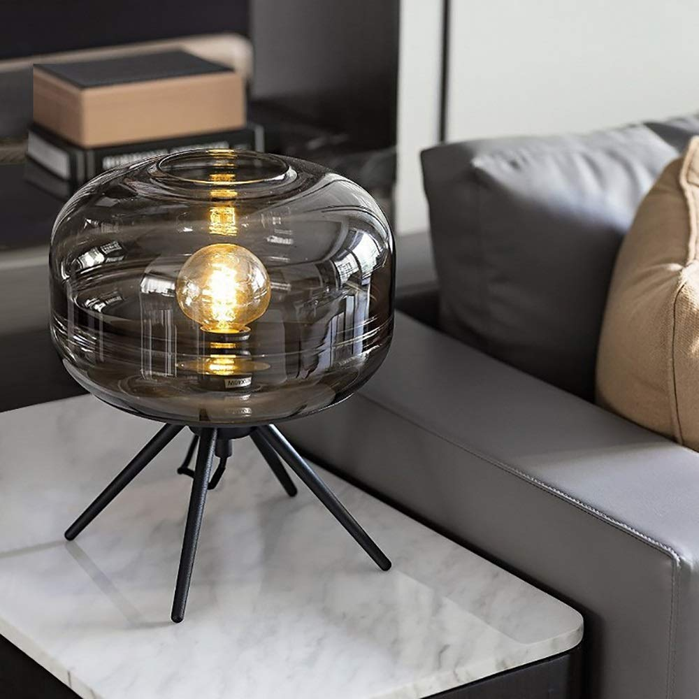 Glass Globe Lampshade Simple Creative Metal Wrought Iron Led Table Lamp Bedroom Study Table Lamp Protect Eyes (Color : Smoky Gray) by Gal