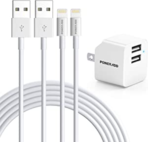 iPhone 12 Charger, POWERADD Lightning Cable 2 Pack 6.6ft Fast Charging Cube iPhone Wall Charger Dual Port Plug Adapter Data Sync Transfer Cord Compatible with iPhone 12 Mini SE 11Pro XS XR X 8 7 iPad