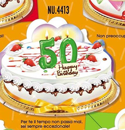 Tarjeta Felicitación cumpleaños 50 años a forma de tarta ...