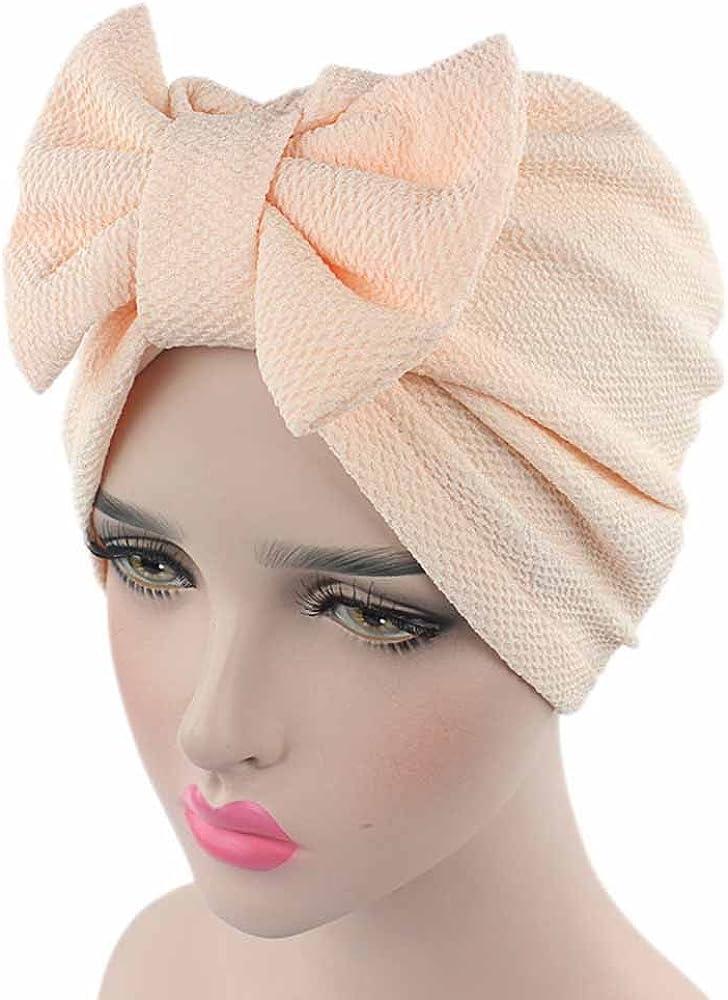 Skang Solide Chapeau Femme N/œud Papillon Bonnet Turban Chimio Stretch Chapeaux Bandeau El/égant Mode Musulmanes Turban Foulard pour Perte de Cheveux Cancer