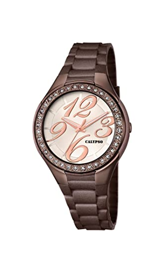 Calypso watches K5637/8 - Reloj de pulsera mujer, plástico, color marrón: Amazon.es: Relojes