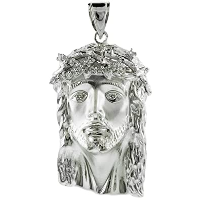 Religious jewelry by fdj 925 sterling silver iced out cz jesus face religious jewelry by fdj 925 sterling silver iced out cz jesus face pendant aloadofball Image collections