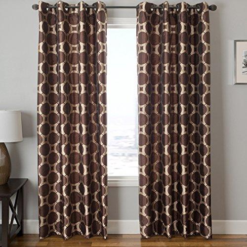 "Softline Home Fashions Catara Circle Series Woven Jacquard Window Curtain/Drape/Panel/Treatment with Grommet Top, Chocolate Latte, 55"" x 108"""