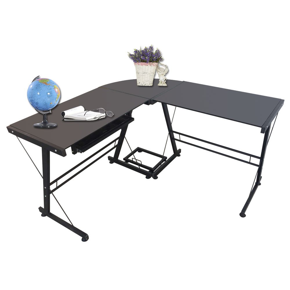 {US STOCK}Teekland Office/Computer Desk with Keyboard Tray,3-Pieces Corner Computer/Laptop Home Table(Black Tempered Glass,L-Shape) (Stalinite-Black)