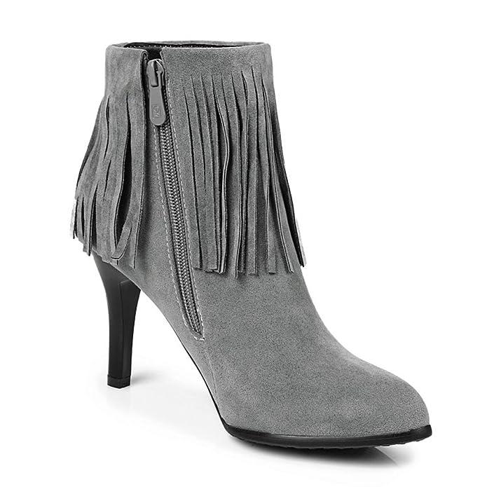 HONGANG Frauen Quaste Spitzschuh Bequemen Fransen Faux Wildleder Reißverschluss Kurz Knöchel Hohe Chelsea Stiefel mit Cone Heels raptI6xpsU