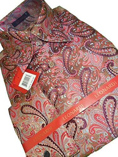 Paisley Taupe Collar (Leonardi 382 Mens Shiny Taupe, Plum Ultra High Collar F/C Shirt (xlarge))