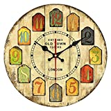 YeYo 12Inch Vintage Style Wall Clock Waterproof MDF Wooden Decoration for Home Living Room Decoration For Sale