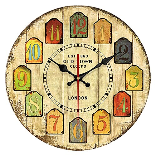 YeYo Old Fashion 14 Inch Vintage Wood Wall Clock Tuscan Style MDF Wooden Wall Clock Waterproof for Home Living Room Bedroom Decoration