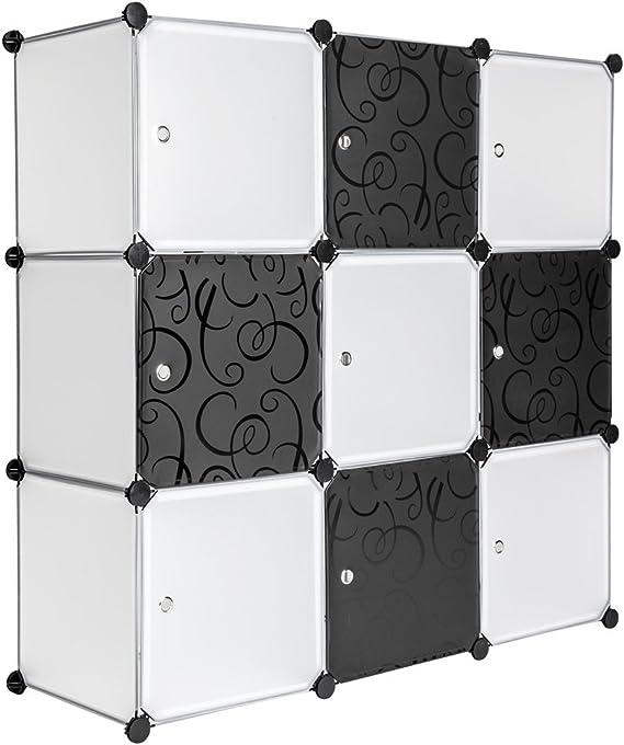 TecTake Estantería de plastico Modular Armario Cuadrados ropero Organizador Negro Blanco: Amazon.es: Hogar