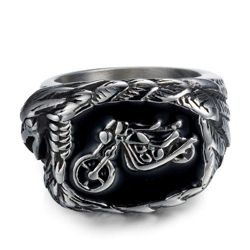 Fashion Stainless Steel Jewelry Punk Motorcycle and Eagle JEWURA Biker Ring