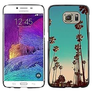 Miami la noche del trullo California Pink Palms - Metal de aluminio y de plástico duro Caja del teléfono - Negro - Samsung Galaxy S6