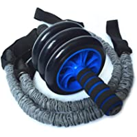 3-in-1 AB Wheel Roller Kit with Resistant Band, Anti-Slip Handles - Perfect Abdominal Core Carver Fitness Workout for Abs