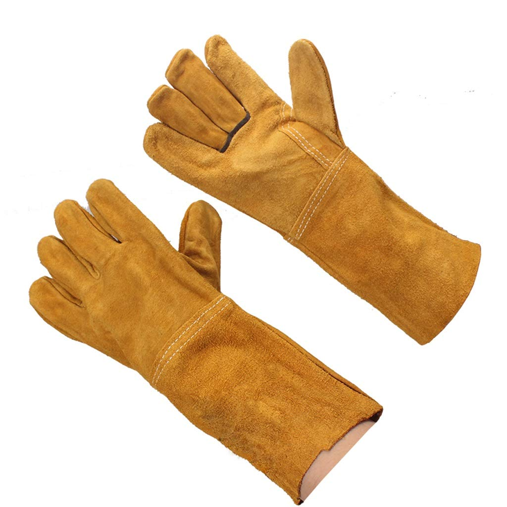 LZRZBH Welding Gloves Long Leather Gauntlets Heat Resistant Lined Welders Gauntlet High Temperature Stove Long Lined Perfect for Fireplace Stove Gardening (Color : D)
