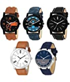 TIMESOON Analogue Multi Colour Dial Men's Boy's Watch Combo Pack of 5 Watch