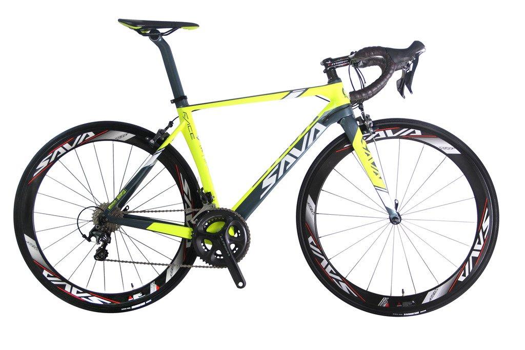 savadeck Graceful 1.0 700 Cロードバイクt800カーボンファイバーフレーム自転車with Shimano Ultegra 6800 22速度システムハッチンソン25 CタイヤとFizikサドル B01M5CE91A Yellow & Grey Yellow & Grey