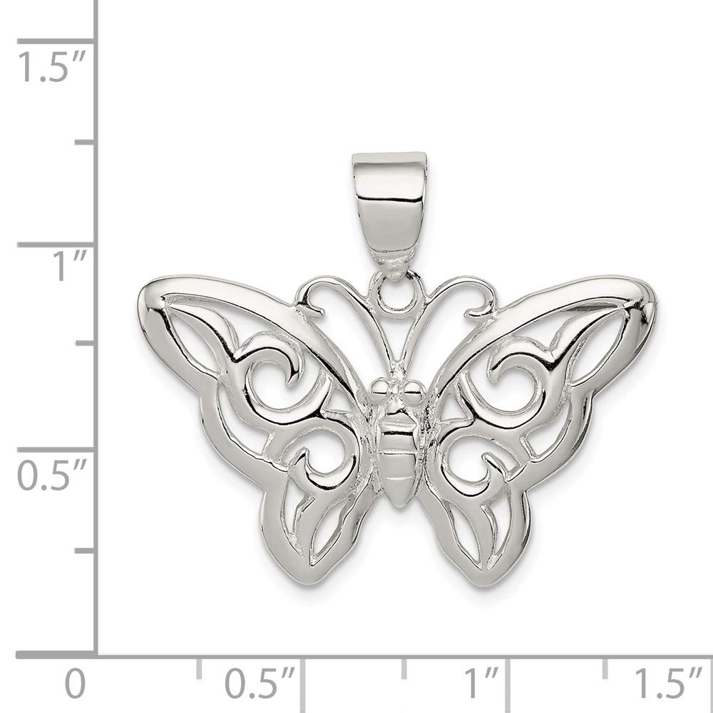 Mia Diamonds 925 Sterling Silver Solid Butterfly Pendant 25mm x 31mm