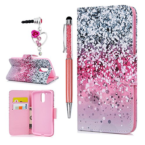 MOLLYCOOCLE Moto G4,Moto G4 Plus Case,Colored Drawing Cute Pattern Wallet Case Full Body Soft TPU Inner Bumper Protective Case Cover for Moto G4/Moto G4 Plus - Snow