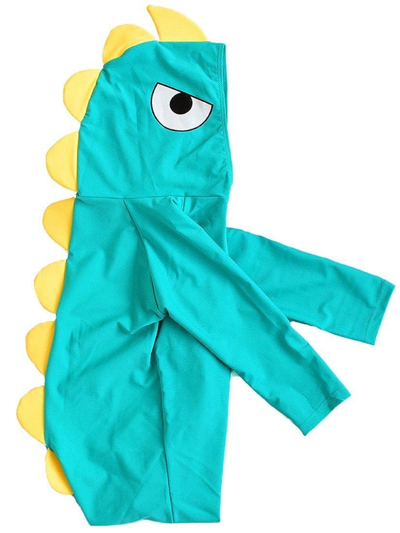 Baby Kids Boys Girls One Pieces Long Sleeve Swimwear Full Boday Dinosaur Hoodie Sun Protection Swimsuit