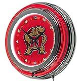 Trademark Gameroom NCAA University of Maryland Chrome Double Ring Neon Clock, 14''