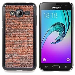 Queen Pattern - FOR Samsung Galaxy J3 - Wall Brick Rustic Orange Brown Architecture - Cubierta del caso de impacto con el patr???¡¯???€????€????