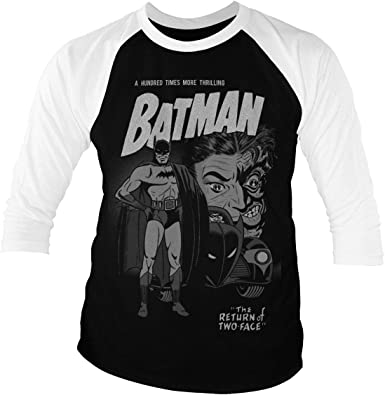 Batman Licenciado Oficialmente Return of Two-Face Baseball Camisa de Manga 3/4 para Hombre (Negro-Blanco): Amazon.es: Ropa y accesorios
