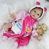 Nicery 22inch Renacido de la muñeca de silicona suave vinilo 55cm magnética Boca realista vestido rosa del oso de la muchacha del juguete Reborn Doll A3ES