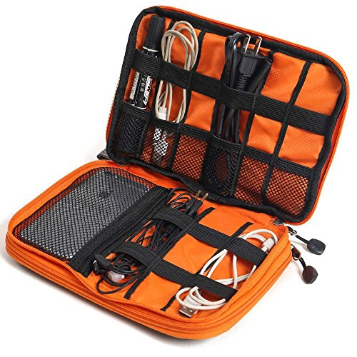 METORY Travel Accessories Electronics Organizer, Universal Cable Management Organizer Travel Bag For USB, Phone, iPad, Charger and Cable (Double Layer, Large, Grey and Orange) by METORY (Image #1)
