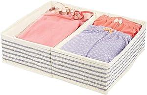 mDesign Soft Fabric Dresser Drawer and Closet Storage Organizer Set for Baby Room/Nursery, Child, Kids, Girls, Boys Clothes - 2 Section Organizer - Natural/Cobalt Blue
